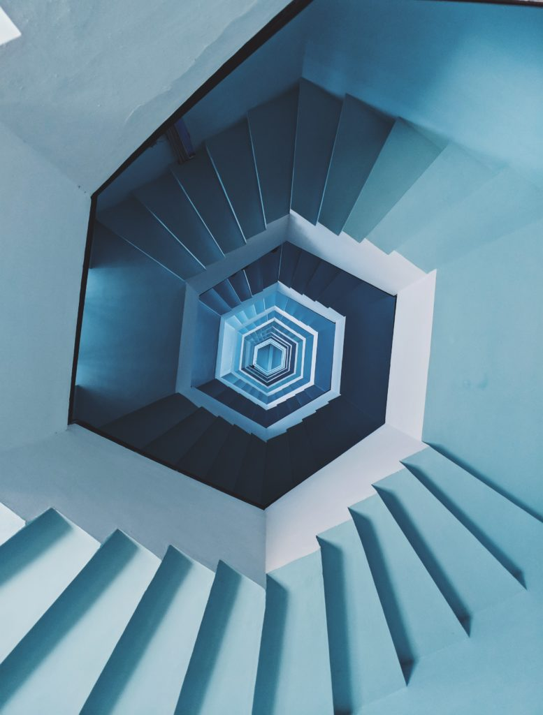 Hexagonal staircase seen from above